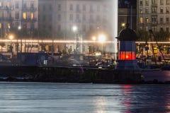 Geneva Lighthouse at night Stock Photos
