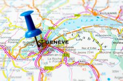 Geneva on map. With push pin. Geneve Stock Photos