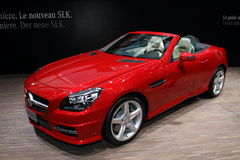 Geneva Motor Show 2011 – MERCEDES SLK 2011. MERCEDES SLK 2011 car on display at the 81th edition of the annual Geneva Motor Show in Switzerland. This is  one Royalty Free Stock Image