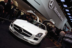 Geneva Motor Show 2011 – MERCEDES SLS AMG. MERCEDES SLS AMG car on display at the 81th edition of the annual Geneva Motor Show in Switzerland. This is  one of Royalty Free Stock Photos