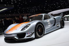 Geneva Motor Show 2011 – Porsche 918 RSR. Porsche 918 RSR car on display at the 81th edition of the annual Geneva Motor Show in Switzerland. This is  one of Stock Photos