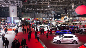 Geneva Motor Show. GENEVA, SWITZERLAND - MARCH 1, 2016: Overview of the 86th International Geneva Motor Show in Palexpo, Geneva Royalty Free Stock Photo