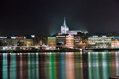 Geneva at night Royalty Free Stock Image