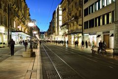 Geneva at night. GENEVA, SWITZERLAND - NOVEMBER 18, 2015: streets of Geneva at night. Geneva is a global city, a financial center, and worldwide center for Stock Photography