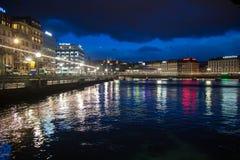 Geneva by night, seen from the Lake Stock Photos