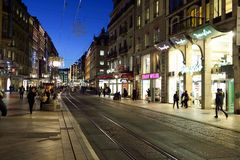 Geneva at night. GENEVA, SWITZERLAND - NOVEMBER 18, 2015: streets of Geneva at night. Geneva is a global city, a financial center, and worldwide center for Royalty Free Stock Photo