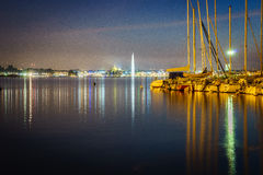 Geneva by night Royalty Free Stock Images