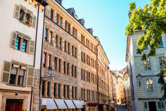 Geneva old town. Buildings in the old town of Geneva city in Switzerland Stock Image
