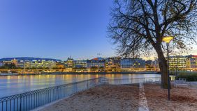 Geneva riverside from Rousseau island, Switzerland Royalty Free Stock Photography