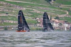 Geneva/Schweiz - 10 06 2018: Bol D ` eller för geneva D35 för regattaSchweiz sjö för Okalys saling fartyg projekt ungdom och tävl Fotografering för Bildbyråer