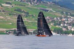 Geneva/Schweiz - 10 06 2018: Bol D ` eller geneva D35 M1 för regattaSchweiz sjö segelbåt Racing Django Fotografering för Bildbyråer