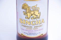 Geneva/Schweiz - 11 06 2018: Singha för berömt thailändskt öl högvärdig import Thailand Royaltyfria Bilder