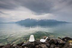 Geneva See und Bergblick Stockfoto