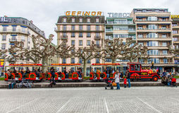 Geneva - Sightseeing Tourist Train Royalty Free Stock Images