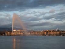 Geneva skyline with jet d'eau fountain. On the lake in Geneva, Switzerland royalty free stock image