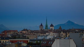 Geneva skyline timelapse stock video footage