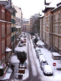 Geneva snowy street by winter Royalty Free Stock Image