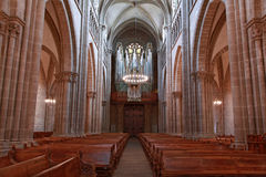 Geneva St Pierre cathedral inside with pews and organ Royalty Free Stock Photography