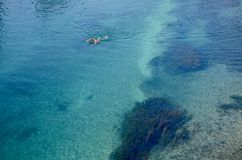 Swimmer in the clear waters of the Rhone river