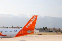 Geneva/Switzerland – 03.03.2019 : Easyjet airplane on the tarmac of geneva international airport stock photography