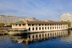A view from the Coulouvrenière bridge over the banks sector and the Rhone. GENEVA, SWITZERLAND – OCTOBER 28, 2017 : banking sector and view of the Rhone river Stock Photo