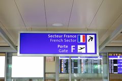 Geneva/Switzerland-28.07.18 : Airport Gate number check-in geneva airport stock images