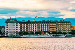 Geneva, Switzerland - August 30, 2016: Ferry at Geneva Lake near Promenade du Lac in summer, Geneva, Switzerland. Geneva, Switzerland - August 30, 2016: Ferry at stock photo