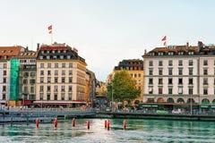 Pont de la Machine Bridge above Geneva Lake in summer Royalty Free Stock Photos