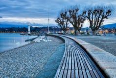 Geneva,, Switzerland Cityscape. Lake Geneva shoreline in the morning Royalty Free Stock Photo