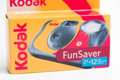 Geneva/Switzerland – 03.03.2019 : Disposable Camera 35mm analog photogrpahy Kodak fun saver. Red yellow disposable camera from kodak for kids or event royalty free stock photos