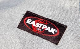 Geneva/Switzerland-09.09.18 : Eastpak bag backpack east pack school logo. Close up to the logo of an eastpak bag stock photo