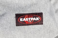Geneva/Switzerland-09.09.18 : Eastpak bag backpack east pack school logo. Close up to the logo of an eastpak bag royalty free stock photography