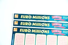 Geneva/switzerland-09.12.18 : Euro millions loto lottery ticket sheet paper game Europe royalty free stock photography