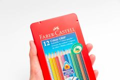 Geneva / switzerland - 07.07/18 : Faber castell colour grip pencil box pencils color. Pencils Faber castell red box isolated on white royalty free stock photos