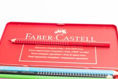 Geneva / switzerland - 07.07/18 : Faber castell colour grip pencil box pencils color. Pencils Faber castell red box isolated on white stock image