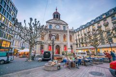 GENEVA, SWITZERLAND - February 6, 2018: Old town Geneva city at night in Switzerland. It is the second-most populous city in. GENEVA, SWITZERLAND - February 6 stock images