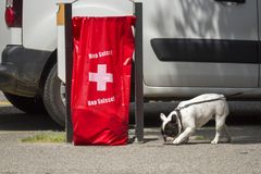 Geneva Switzerland, Hop Suisse for the football world cup. June 16, 2018 : during the football world cup all the bags of public garbage in the city encourages Royalty Free Stock Photo