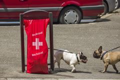 Geneva Switzerland, Hop Suisse for the football world cup. June 16, 2018 : during the football world cup all the bags of public garbage in the city encourages Royalty Free Stock Photography