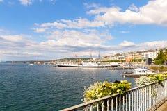 GENEVA, SWITZERLAND - JUNE 26, 2016: Geneva Lake on a sunny day. Stock Photos