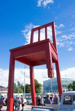 Geneva, Switzerland - June 17, 2016: The gigantic Broken Chair , symbol the fight against landmines Royalty Free Stock Images