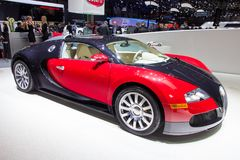 Bugatti Veyron sports car. GENEVA, SWITZERLAND - MARCH 3, 2015: Bugatti Veyron sports carat the 85th International Geneva Motor Show in Palexpo Royalty Free Stock Photos