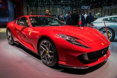 2018 Ferrari 812 Superfast sports car. GENEVA, SWITZERLAND - MARCH 7, 2018: Ferrari 812 Superfast sports car shown at the 88th Geneva International Motor Show Royalty Free Stock Photography