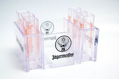 Geneva / Switzerland - March 20, 2018 : jagermeister Liquor shot glass brand logo deer stock photography