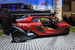 Pal-V Librty flying car. GENEVA, SWITZERLAND - MARCH 6, 2018: Pal-V Liberty flying car makes public debut at the 88th Geneva International Motor Show. Pal-V is Royalty Free Stock Image