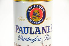 Geneva / Switzerland - March 20, 2018 : Paulaner beer bier Munchen October fest edition. Paulaner Beer October fest edition bier German beer can close up royalty free stock images