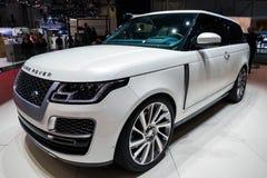 Range Rover SV Coupe SUV car. GENEVA, SWITZERLAND - MARCH 6, 2018: Range Rover SV Coupe SUV car unveiled at the 88th Geneva International Motor Show Stock Image