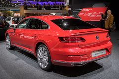 Volkswagen Arteon R-Line car. GENEVA, SWITZERLAND - MARCH 6, 2018: Volkswagen Arteon R-Line car showcased at the 88th Geneva International Motor Show Royalty Free Stock Photo