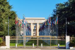 Geneva, Switzerland - October 18, 2017: United Nations Member St. Ates flags near Palace Of Nations, home of the United Nations Office Stock Images