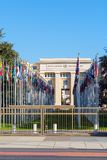 Geneva, Switzerland - October 18, 2017: United Nations Member St. Ates flags near Palace Of Nations, home of the United Nations Office Stock Photography