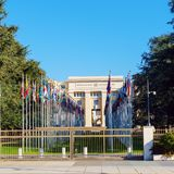 Geneva, Switzerland - October 18, 2017: United Nations Member St. Ates flags near Palace Of Nations, home of the United Nations Office stock photo